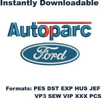 Autoparc ford logo embroidery design
